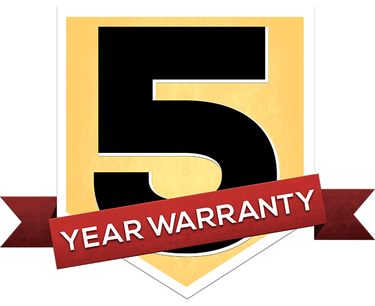 we offer you peace of mind with a limited 5 year warranty