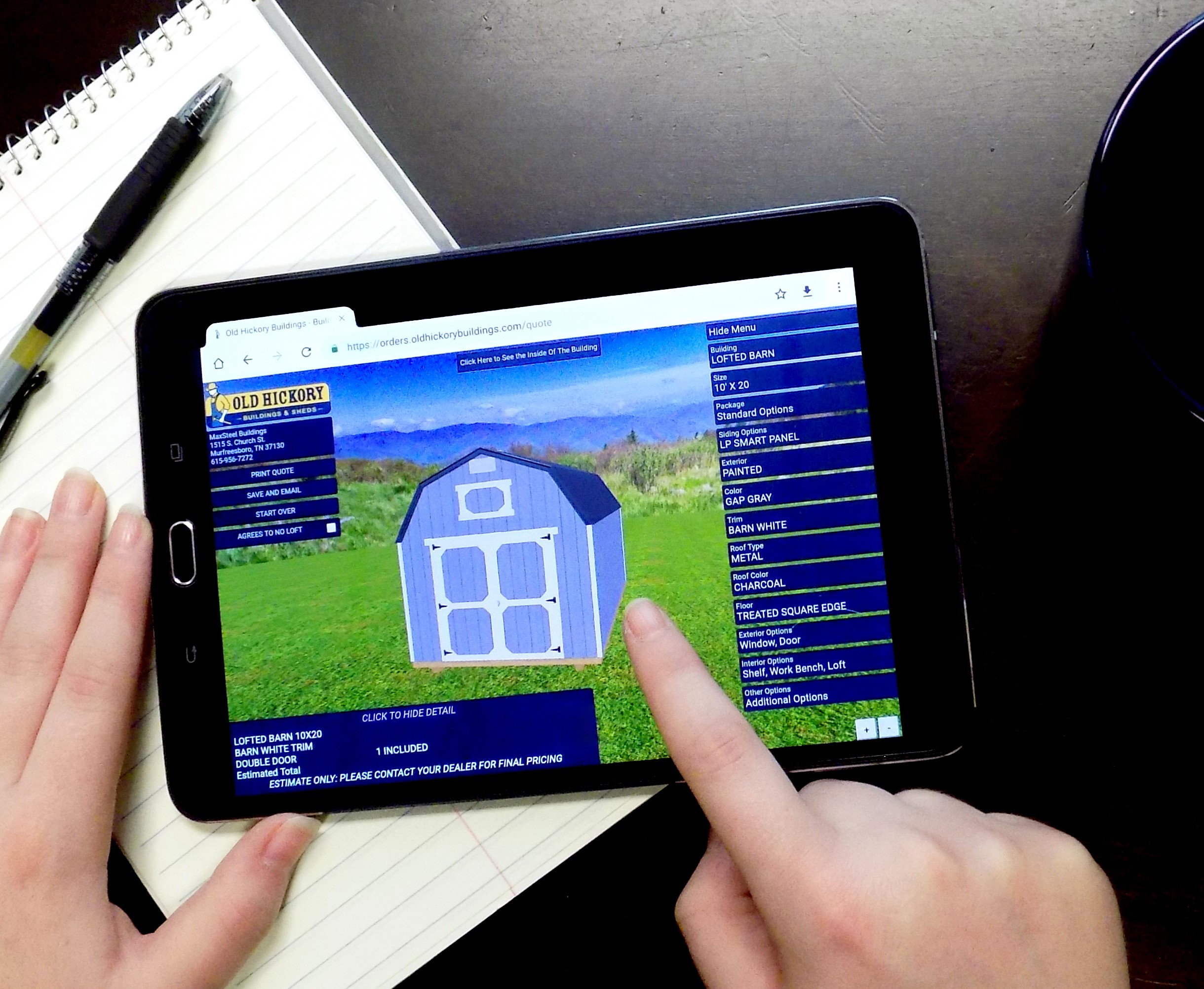 Online 3D Shed Builder Touchscreen
